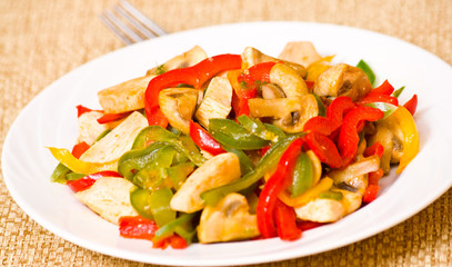 chicken with sweet peppers and mushrooms