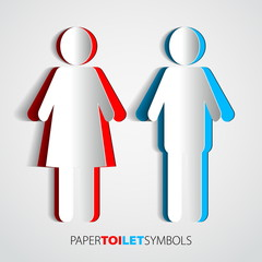 Paper toilet symbols - restroom with man and woman siluette