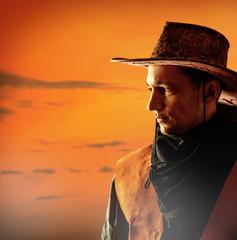 American cowboy in hat