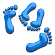 Blue footprints of couple in love