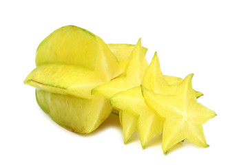 Carambola with slice isolated on white