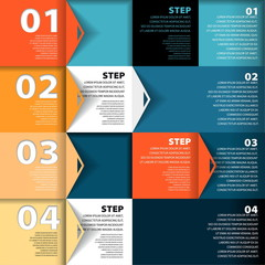 Vector squares background design concept - steps template with p