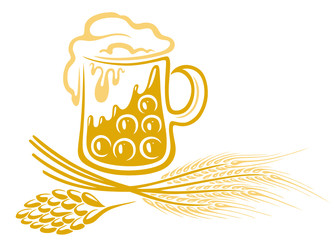 Bier, Hopfen, Gerste, Ähren, vector