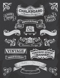 Collection of banners and ribbons on a black background poster