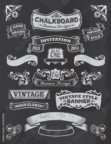 Collection of banners and ribbons on a black background - 55428581