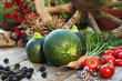 Fresh vegetables on the garden table