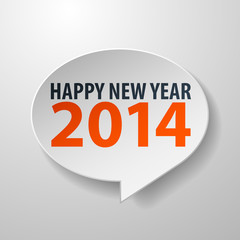 Happy New Year 2014 3d Speech Bubble on White background