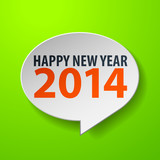 Happy New Year 2014 3d Speech Bubble on Green background