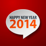 Happy New Year 2014 3d Speech Bubble on Red background