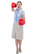 Cheerful businesswoman with red boxing gloves