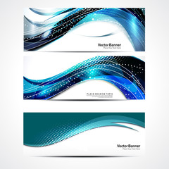 Abstract Wave Banner Set