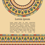 Invitation card with egyptian national pattern, vector