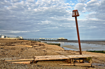 Groynes and post on Worthing beach