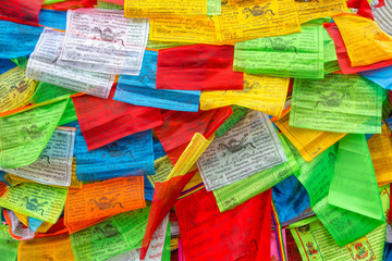 Background of Buddhist Tibetan prayer flags