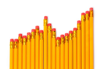 Rising graph of pencils against white background