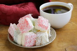 Turkish delight  (rahat lokum) dessert in coconut flakes poster