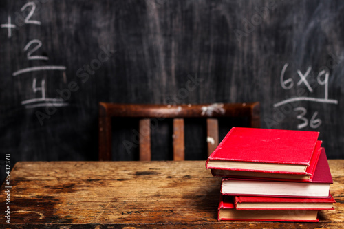 Stack of books by blackboard with bad math