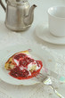 Cottage cheese baked pudding with raspberry topping