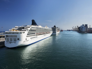 Cruise ships in port of Barcelona