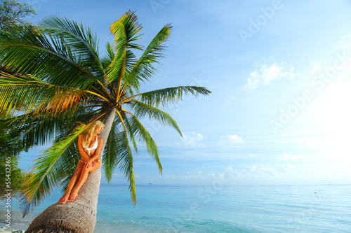 woman on palm