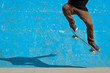 Skateboarder doing a skateboard trick - ollie - at skate park. - 55433526