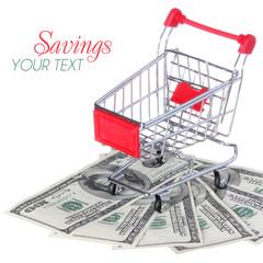 Shopping Cart on Dollar Bills isolated. Ttrolley on money