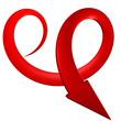 Freccia rossa a spirale curve 3d