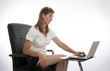 Female office worker and computer