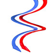 Frecce bandiera francese blu a spirale curve 3d