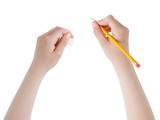 female teen hands with pencil and eraser