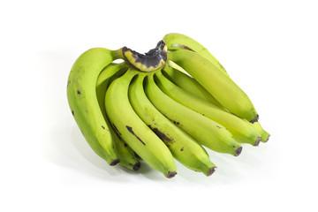 Banana green in white background