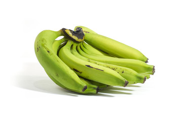 Banana green in white background