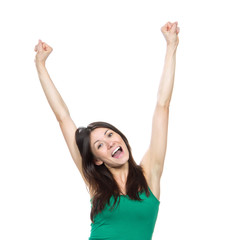 Happy woman with raised arms or hands up sign