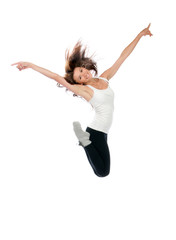 Happy modern slim style teenage girl jumping dancing