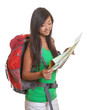 Aisan woman with backpack and map