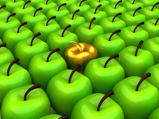 One gold apple among background of green apples