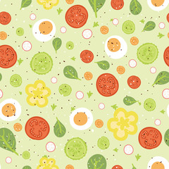 vector fresh salad seamless pattern background with hand drawn