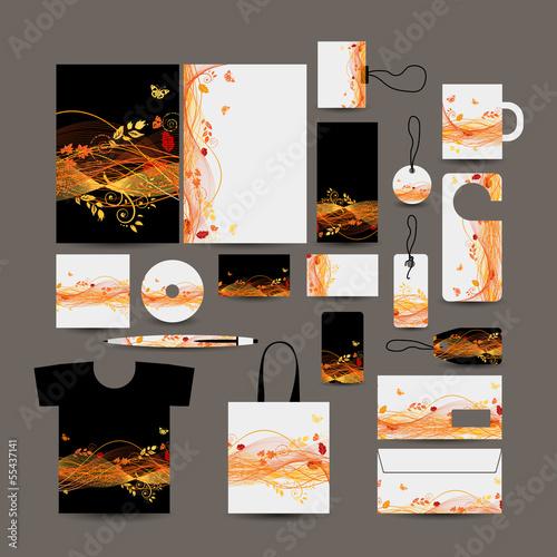 Corporate business style design: folder, bag, label, mug, cards,