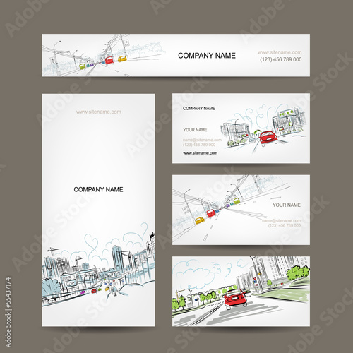Business cards collection, cars on city road for your design