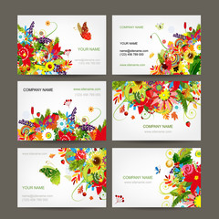 Postcard collection with floral bouquet for your design