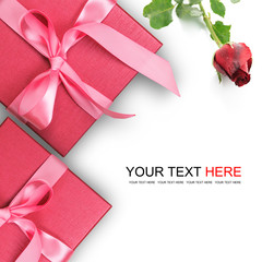 Red gift box with red rose