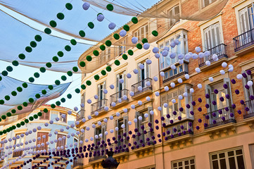 Malaga in fair, Spain. Larios street view.