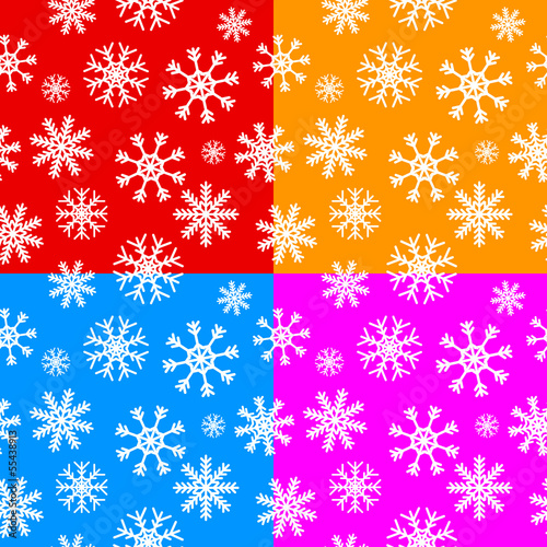 White snowflakes set on different backgrounds