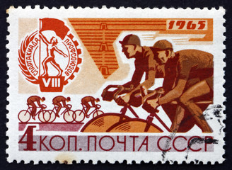 Postage stamp Russia 1965 Bicycle Race