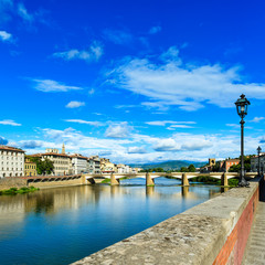 Ponte Grazie bridge on Arno river. Florence or Firenze, Italy.