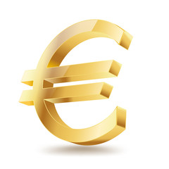 euro golden symbol on white