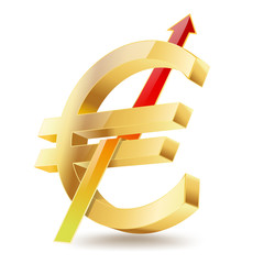 euro golden symbol with raising arrow sign