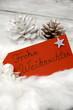 rotes Schild Frohe Weihnachten