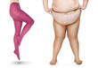 Slim and obese women in tights over white. Weight loss concept.