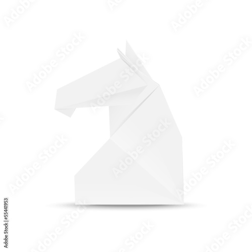 Illustration of horse head in origami style